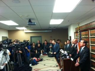 Onondaga County District Attorney William Fitzpatrick answers questions from the media