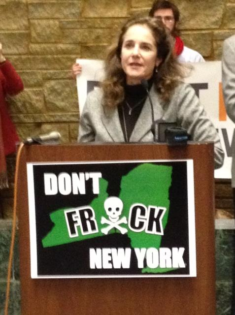 Actress Debra Winger at an anti-fracking rally in Albany Monday