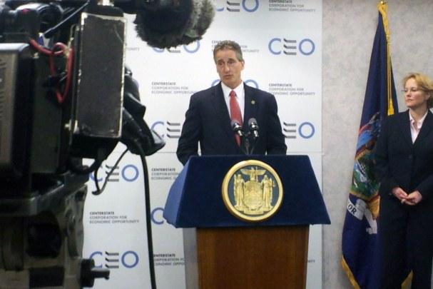 Lt. Gov. Robert Duffy will continue to crisscross the state over the next few weeks arguing for his boss's mandate relief plan. He held a press conference with Onondaga County Executive Joanie Mahoney and the mayor of Syracuse in January.