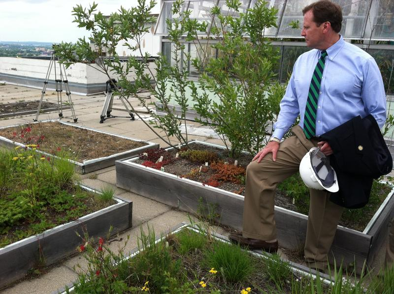 N.Y. State Environmental Facilities Corporation with EFC President Matt Driscoll on top of Illick Hall looking at test gardens.