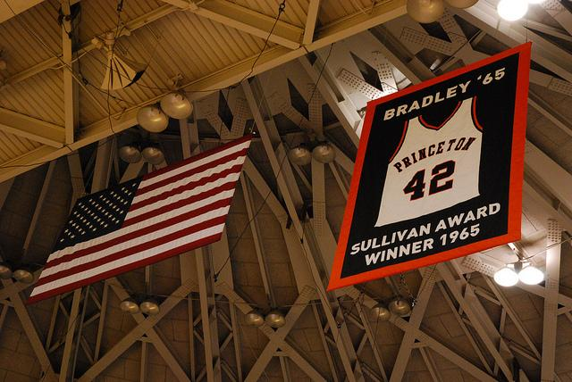 Bill Bradley's retired number at Princeton