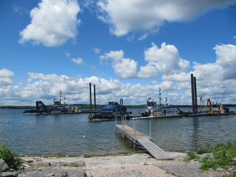 Dredging equipment on Onondaga Lake