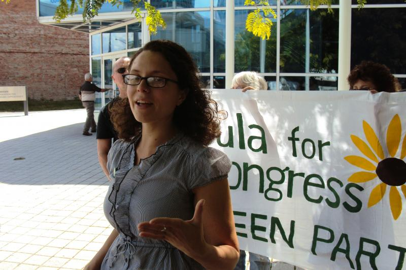 Green Party candidate Ursula Rozum speaking earlier this year in downtown Syracuse.