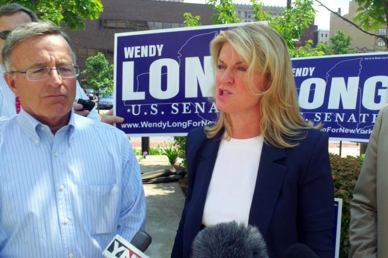 Wendy Long, the republican candidate for U.S. Senate, stands next to State Senator John DeFrancisco (R-Syracuse) during a press conference Monday.