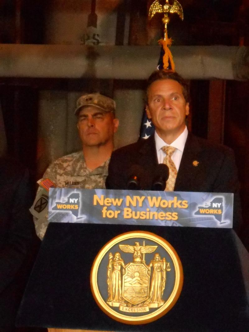 Governor Andrew Cuomo spoke to the press yesteday after touring an idled coal plant that is being converted to a wood biomass facility on Fort Drum.