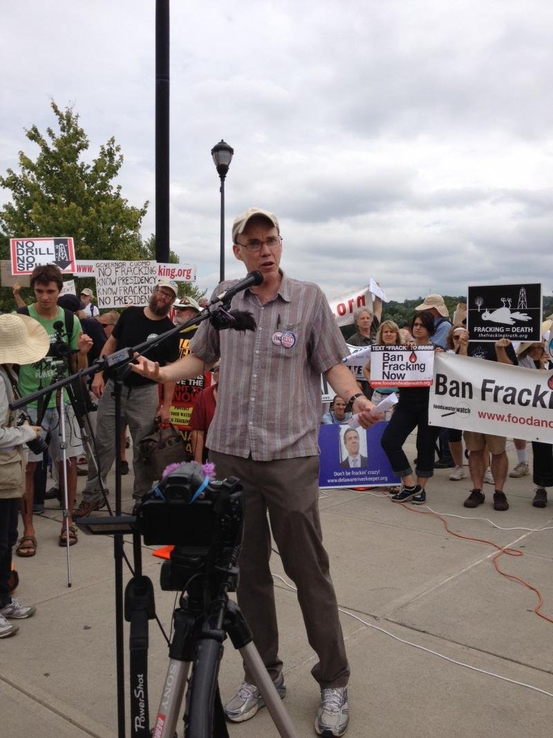 Environmentalist Bill McKibben speaking at the hydraulic fracturing protest in Albany Monday.