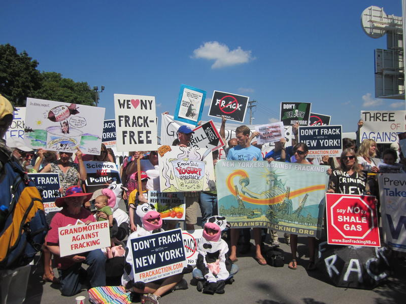 A group of anti-hydrofracking protecters wait outside the New York State Fair for Gov. Andrew Cuomo. (file photo)
