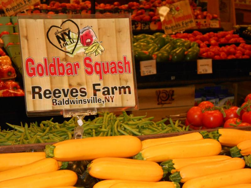 An in-store display at Wegman's in Liverpool showcases locally-grown produce.