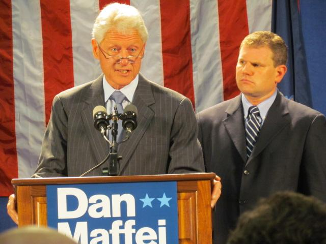 Former President Clinton gives Maffei supporters talking points for the campaign.