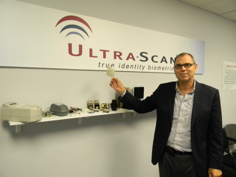 Sporting multiple generations of its biometric technology, UltraScan CEO John Schneider holds what he claims is his company's holy grail: an ultrasonic chip that produces a more accurate fingerprint.
