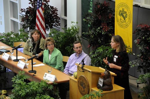 "A panel discusses ""connectivity success stories"" at the fourth annual Forever Wired conference at Clarkson University in Potsdam."