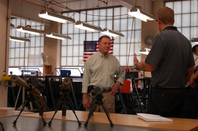 Hanna views new products at Remington Arms in Herkimer County earlier this year.