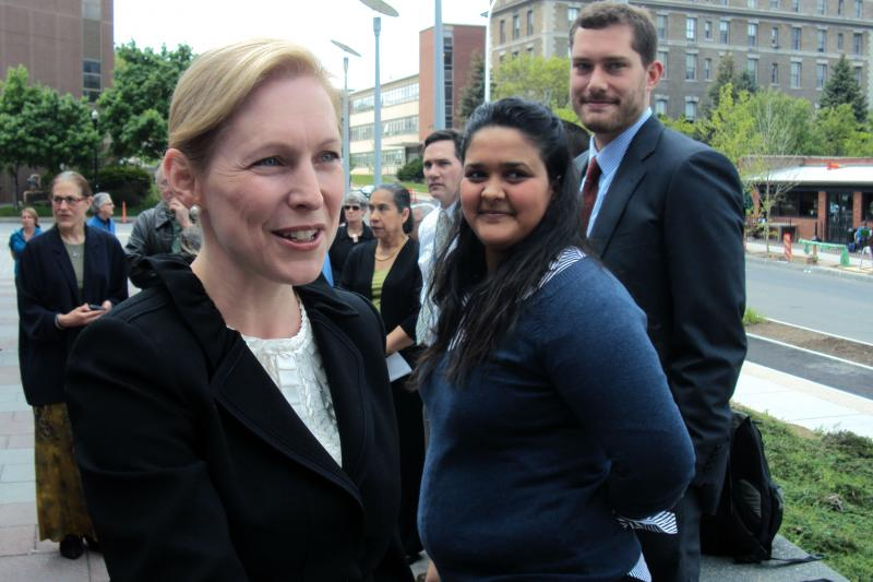 "Sen. Kirsten Gillibrand (D-N.Y.), seen here this summer, is promoting a bill to create ""innovation banks""."