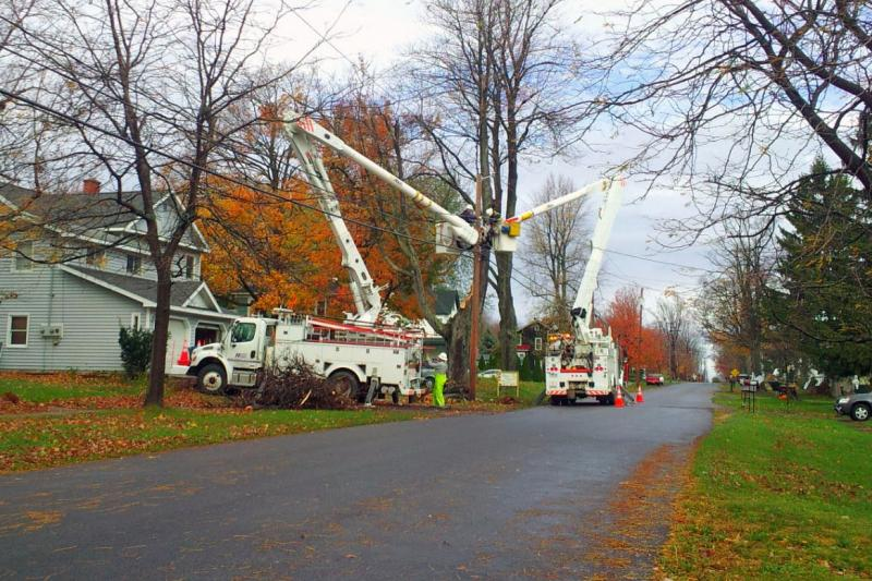 Utility crews were out in Fair Haven in Cayuga County making repairs. Only small power outages were reported in the area.