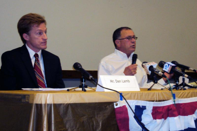 Dan Lamb (left), the democratic candidate for the 22nd Congressional District, debated Rep. Richard Hanna (R-Barneveld) Saturday in Cortland.
