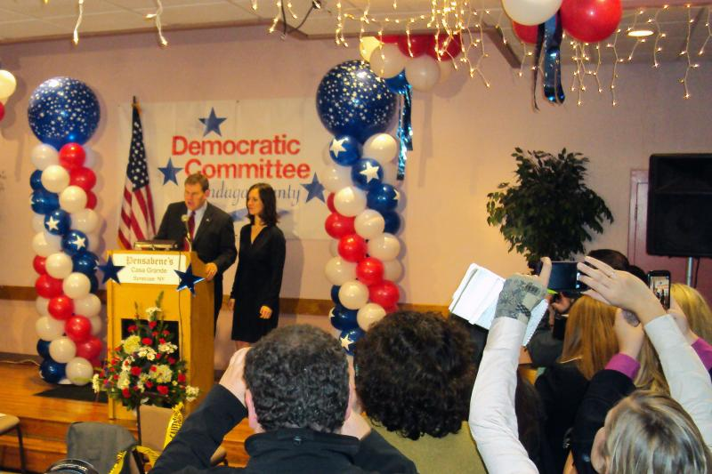 Dan Maffei addresses supporters shortly after midnight. The Associated Press reports the Democrat will be returning to Congress in New York's 24th Congressional District.
