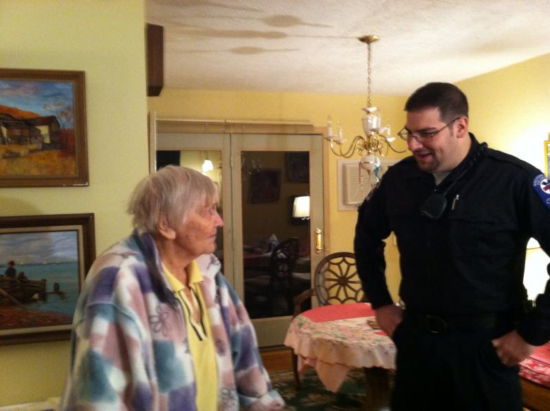 Gertrude Hoenig and WAVES coordinator Dan Taylor in Hoenig's home
