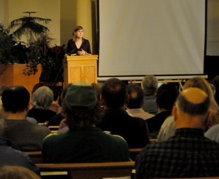 New Yorkers Against Fracking founder Sanda Steingraber speaks at Unitarian Church of Ithaca.