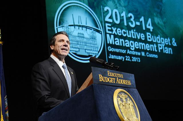 Gov. Andrew Cuomo laying out his agenda earlier this year.