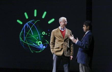 Several RPI graduates were part of the IBM team that developed Watson, including Dr. Christopher Welty (left). He talks with Naveen Sundar, a graduate student at RPI studying computer science.