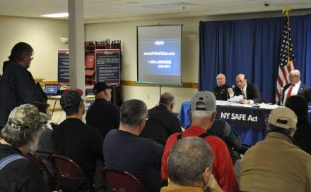 Attendees at Tuesday's forum in Endwell question state police officials on New York's new gun control law.