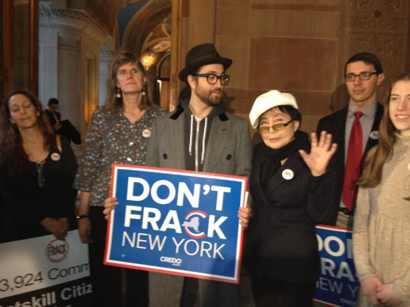 Yoko Ono and Sean Lennon protest fracking at the state Capitol