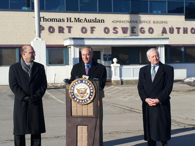Sen. Charles Schumer (D-NY) at the Port of Oswego
