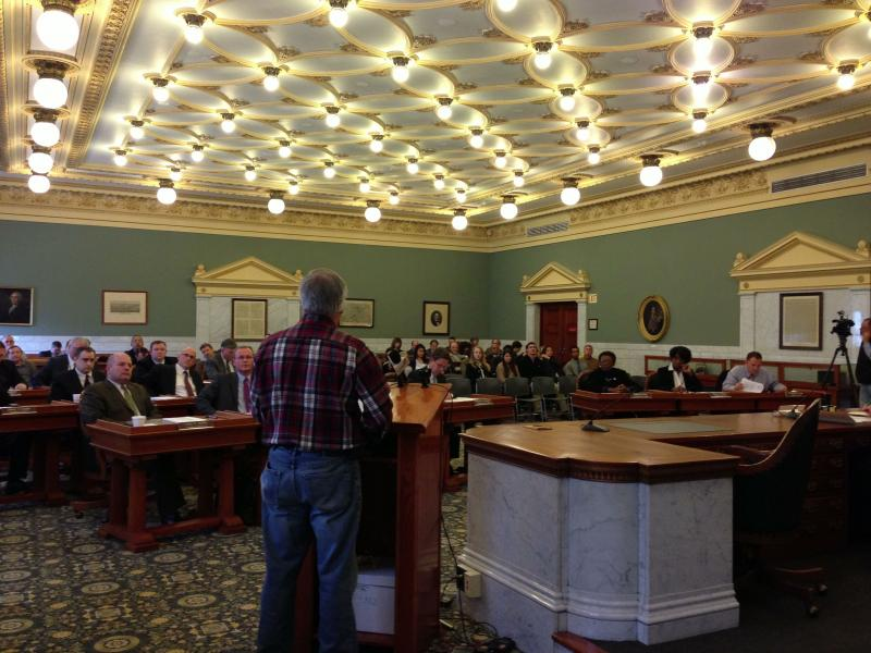 A resident addresses the Onondaga County Legislature before it voted on a resolution on the NY SAFE Act
