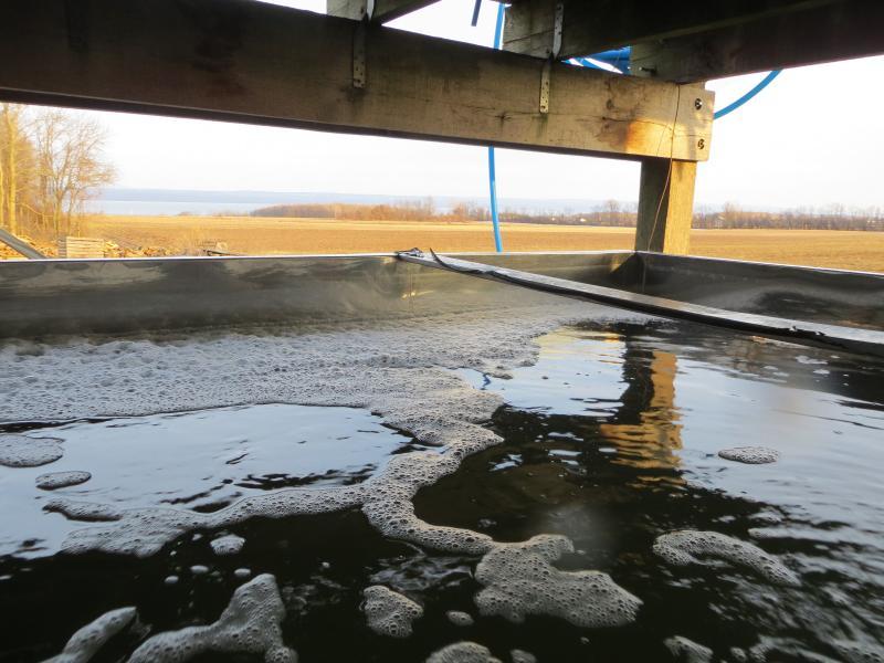 A vat of syrup boils