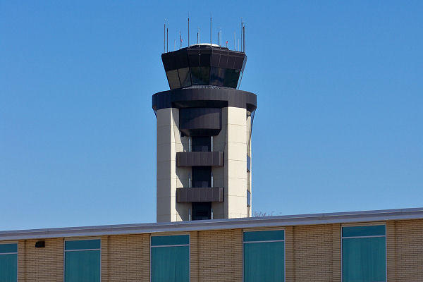 The control tower at Syracuse's Hancock Airport.