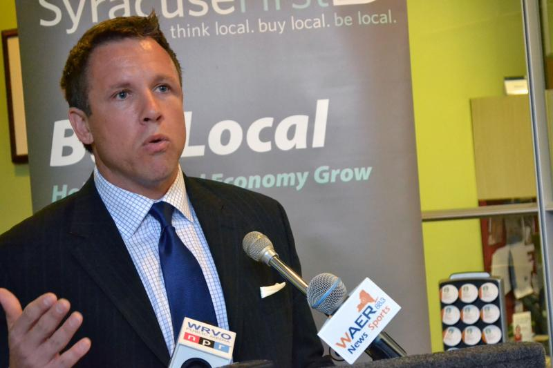 Syracuse First founder Chris Fowler announces The New Economy Summit to be held next month.