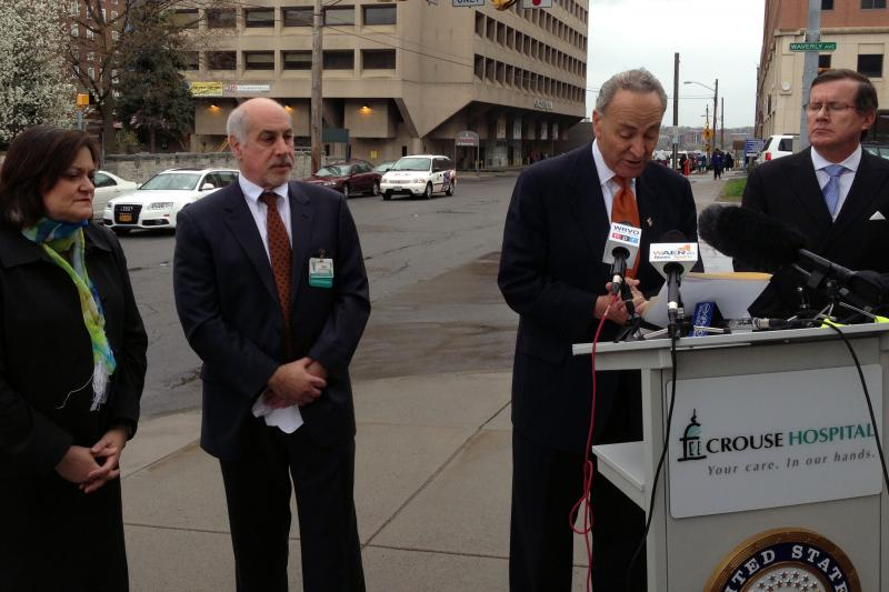 U.S. Sen. Charles Schumer (D-N.Y.) speaks about curbing prescriptions of hydrocodone Monday in Syracuse.