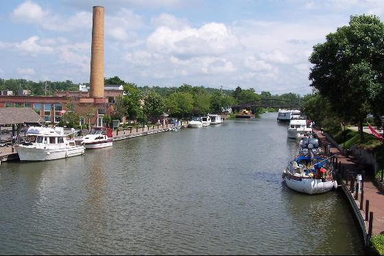 Boats sit along the Erie Canal in upstate New York.