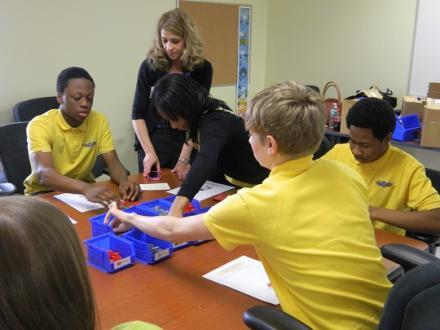 Students learning about high-tech manufacturing