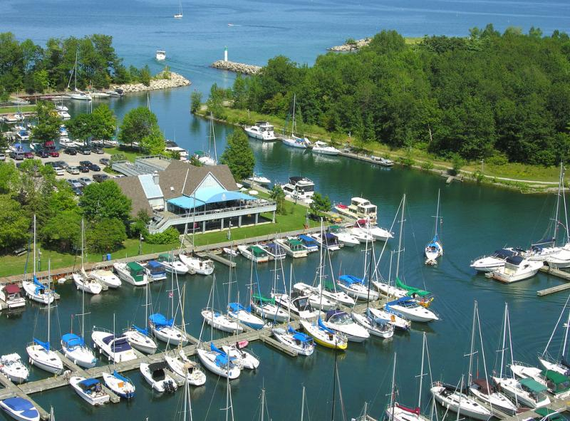 A marina on Lake Ontario near Hamilton, Ontario in Canada.