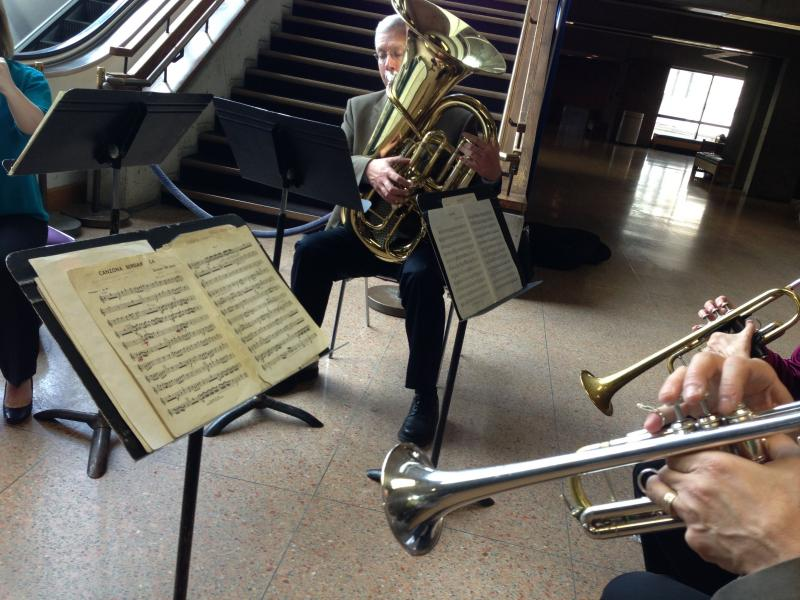 A brass quartet provided musical accompaniment for the announcement of Symphoria's new season.