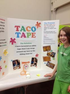 """Taco Tape"" inventor, Ruby Soudant, who is in the 4th grade"