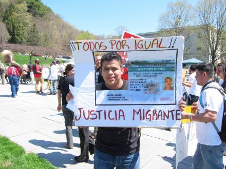 Migrant worker Alberto Madrigal at the Vermont statehouse protest.