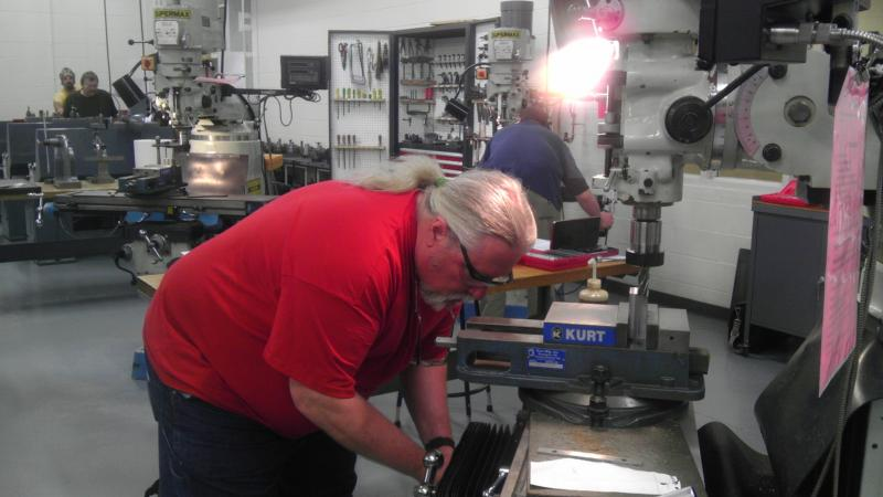 Jim Alderman during the hands on part of an advanced manufacturing training lesson.
