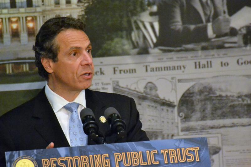 Gov. Andrew Cuomo visited Syracuse Wednesday to stump for campaign reform.