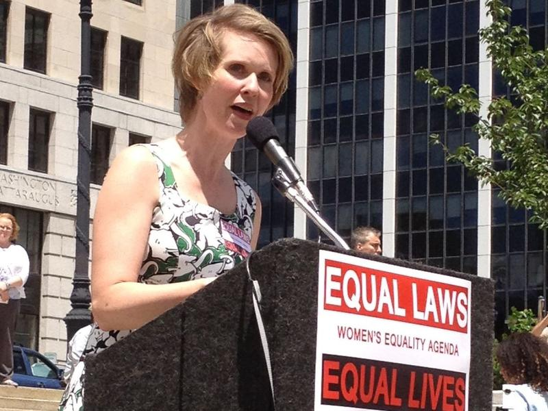 Actress Cynthia Nixon addresses a Women's Equality Act rally at the state Capitol Tuesday