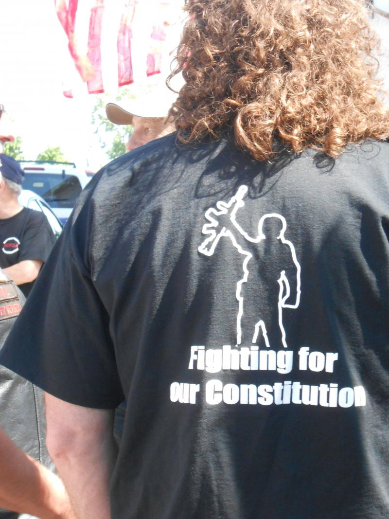 A demonstrator's T-shirt makes his views clear at the Lowville rally opposing the NY SAFE Act.