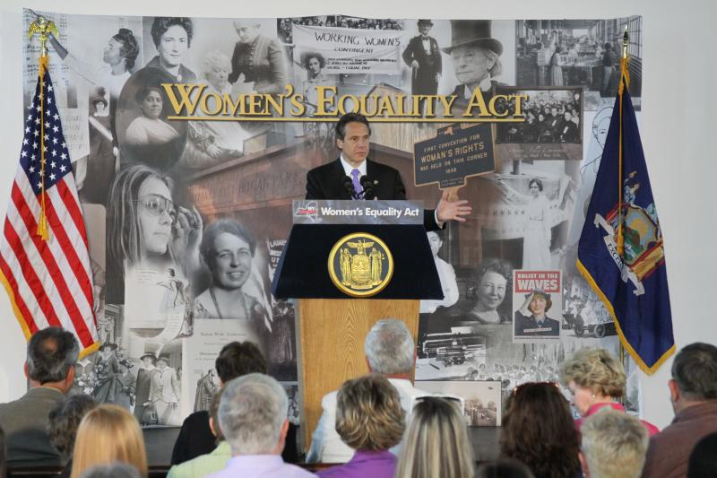 Gov. Andrew Cuomo visited Seneca Falls, N.Y. Wednesday to stump for his Women's Equality Act.