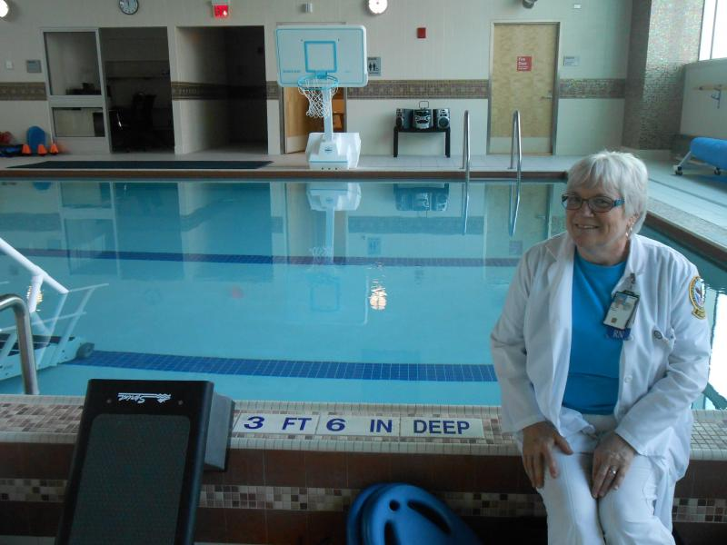 Lynne Puzo, nurse manager for the Spinal Cord Injury and Disorders Center, says the new therapy pool relieves pain for patients and helps them gain greater range of motion as they recover.