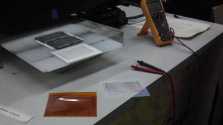 Conductive copper printed onto flexible plastic sheets