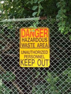 A sign warning residents of contamination at Eighteenmile Creek.