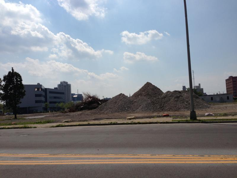 Rubble is left in the wake of the demolition of the former Kennedy Square apartment project, in preparation for the development of Logeun's Crossing on Syracuse's east side.
