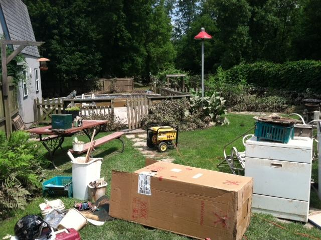 One Oneida resident's backyard was heavily damaged by rapidly rising flood water.