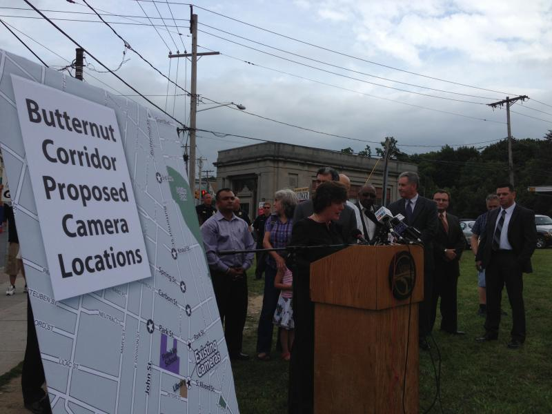 Syracuse Mayor Stephanie Miner announcing the new cameras along with neighbors from the city's Northside.