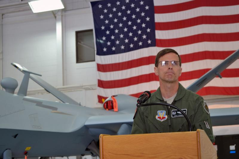 Col. Greg Semmel, commander of the 174th Air National Guard Attack Wing, discusses plans to fly drone training missions over Syracuse, N.Y.
